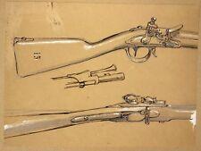Dessin Ancien XIXe Etude de Fusil Arme Ancienne Militaria