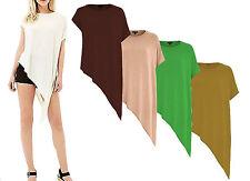 Ladies Asymmetric Side Slit Top Short Sleeves Baggy Batwing T-shirt Women Dress