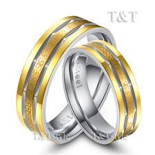 T&T Stainless Steel 6mm 14K Gold GP Greek Key Comfort Fit Band Ring For Couple