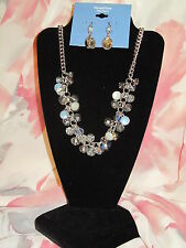 SIMPLY VERA WANG NWT $48 women's necklace earrings silver clear blue stones