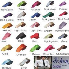 Mens Skinny Tie Fashion Solid Plain Colour Satin Formal wedding Casual Necktie