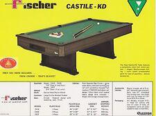 VINTAGE AD SHEET #1822 - FISCHER BILLIARDS POOL TABLE - CASTILE-KD