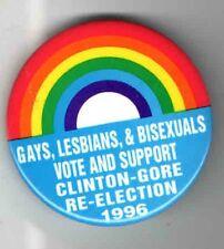 1996 pinback CLINTON GORE pin RAINBOW GAY Lesbian BISEXUAL