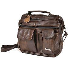 Mens Leather Manbag Business Travel Shoulder Bag Womens Handbag Black Brown