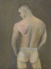 NUDE male, rear view jockstrap y-jock 1/1/50 Esteban Realism SIgned FREE SHIP