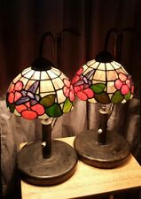 Stain Slag Tiffany Style Table Lamps Pair