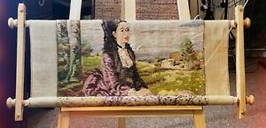 Vintage Embroidery- Printed Canvas, Set of thread, Instruction and Wooden Frame