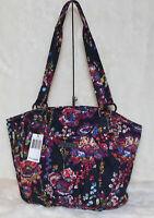 NWT! Vera Bradley Glenna Satchel Shoulder Bag Tote Purse Midnight Wildflowers