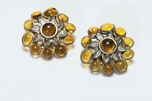 CHANEL Paris 1994 Maison Gripoix Yellow Poured Glass Camellia Flower Earrings
