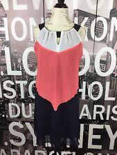 Enfocus Studio Sleeveless Navy White Coral Dress Size 8