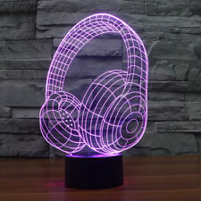 7 Colors Changing Headphones 3D LED Light Desk Lamp Touch Switch Creative Gifts