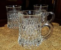 Vintage Glass Coffee Cups Diamond Point Clear Set of 3 Indiana Glass Co.