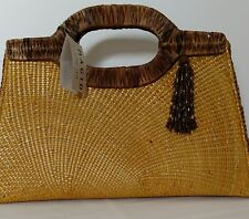 Magid Straw Golden Yellow Purse Brown Weaved Handle NWT