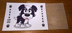 Personalised A4 or A3 dog mat for food and water bowls plus anti slip mat