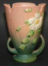 Vintage Roseville Pottery * 980-6 * Brown Pink White Rose Vase * Stunning