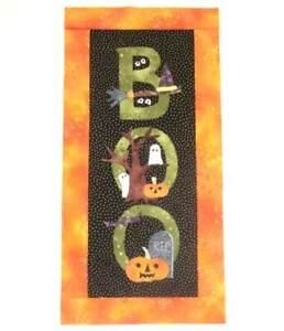 "12.25 X 25.25""  HALLOWEEN Ghost Bat Jack O'Lantern  Mini Quilt Top + Binding"