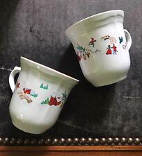Vintage Farberware Cups Mugs Set/11 White Christmas Winter Village Babnovsky