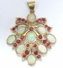 22Kt Opal & Ruby Yellow Gold Pendant 16.20CT