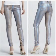 True Religion Women's Size 24 Halle Metallic Jeans in Blue Skinny Leg NWT $260