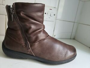 HOTTER WHISPER UK 7 EU 41 STD WOMENS BROWN FLAT REAL LEATHER ANKLE WINTER BOOTS
