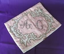 19C Antique Hand Embroidered Pillow Case Pattern w/Gold Threads & Sequins
