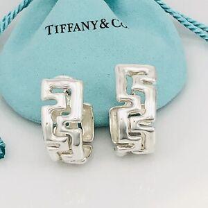 Tiffany & Co Silver Vintage Large Etruscan Greek Key Hoop Huggie Earrings