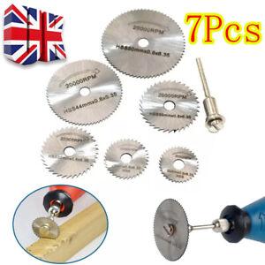 7pcs Mini Circular Saw Rotary Blade Disc HSS Wood Metal Cutting Tool Set 22-50MM