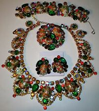 VTG JULIANA STIPPLED EASTER EGG RHINESTONE PARURE NECKLACE BRACELET BROOCH ER's