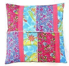 """Indian Patchwork Kantha Cotton Cushion Cover 16"""" Square Sofa Pillow Cover Decor"""