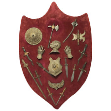 More details for 1 vintage 20th century medieval serpentine battle shield man cave wall plaque