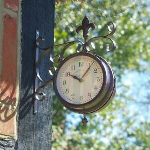 Smart Garden Vintage Station Outdoor Wall Clock & Thermometer With Wall Bracket