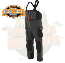 L LG Frogg Toggs Pilot Guide Fishing Rain Bibs Black & Gray w/ Red Zippers