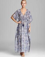 TORY BURCH Madura Fans Voile Maxi Caftan Kimono Coverup Dress in blue XS / S