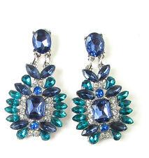 Indigo Turquoise Blue Silver Diamante Earrings Vintage Art Deco Drop Stud 458