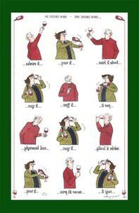 "'He Drinks she drinks wine""Annie Tempest Linen Union Tea Towel by McCaw Allan"