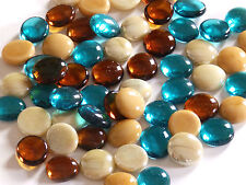 100 x Glass Pebbles / Nuggets / Stones / Gems - Cream Teal