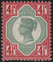 1892 JUBILEE SG206 41/2d DEEP GREEN AND DEEP CARMINE UNMOUNTED MINT