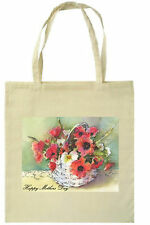 MOTHER'S DAY CESTO Floreale Stampato Eco Friendly Tote SHOPPING BAG MANICI LUNGHI
