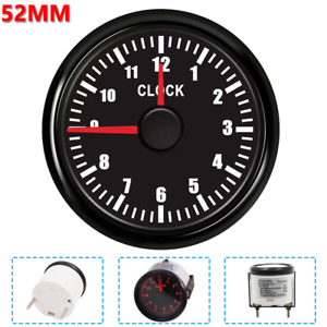 52mm 12Hours Boat Clock Gauge Meter With RED Backlight For Car Truck Motorcycle