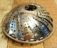 Vintage Stainless Steel Expanding Folding Strainer Colander Compact Footed