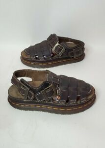 Doc Dr. Martens Sz 5 Leather Arc Fisherman Sandals Brown Heel Strap 8092 England