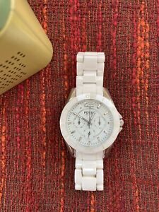 Gorgeous Fossil White Ceramic Watch Boyfriend Size With Tin And Labels