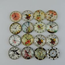 39099 Mixed Patterns Round Glass Clock Birds Pendant Charms 25*25*6mm 12PCS
