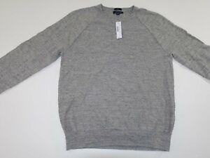 J. Crew Men's Slim Rugged Cotton Sweater Large NWT Light Gray Pullover L LS