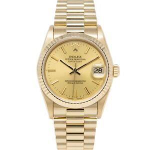 Rolex Women's Datejust 31 Yellow Gold President 68278 Wristwatch - Champagne