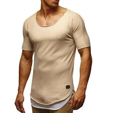 Men Slim Fit Casual Tee Shirts Short Sleeve T-Shirt Plain Tops Muscle Gym Summer