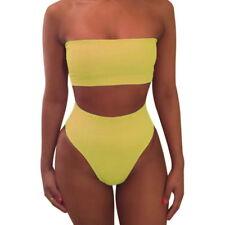 Women's strapless Bandeau Bathing Swimsuit High Waist Swimwear Swim Bikini Set