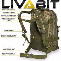 LIVABIT Woodland Digital Camo Tactical EDC 3 Day Assault Bug Out Bag Backpack