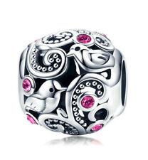 DIY 925 Silver European Charm Crystal bird Spacer Beads Fit Necklace Bracelet ——