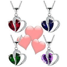 Romantic Selection Heart Zircon Silver Pendant Girlfriend Mother`s Day Necklaces